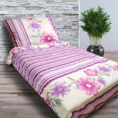 2-dílné prodloužené bavlněné povlečení 140x220cm - květy fialové