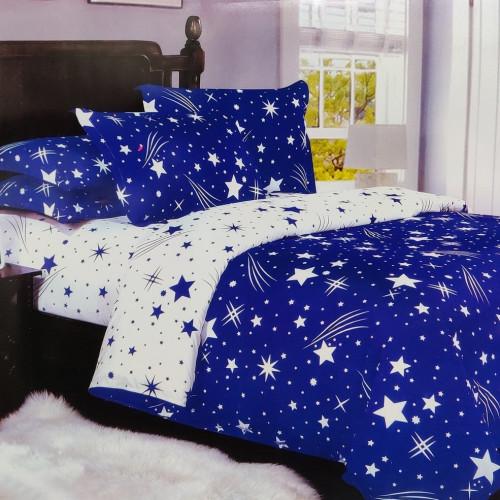 7-dílné povlečení- Hvězdy a křivky-světle modrá