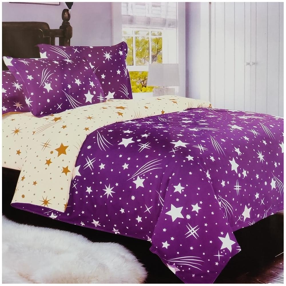 7-dílné povlečení- Hvězdy a křivky-fialové