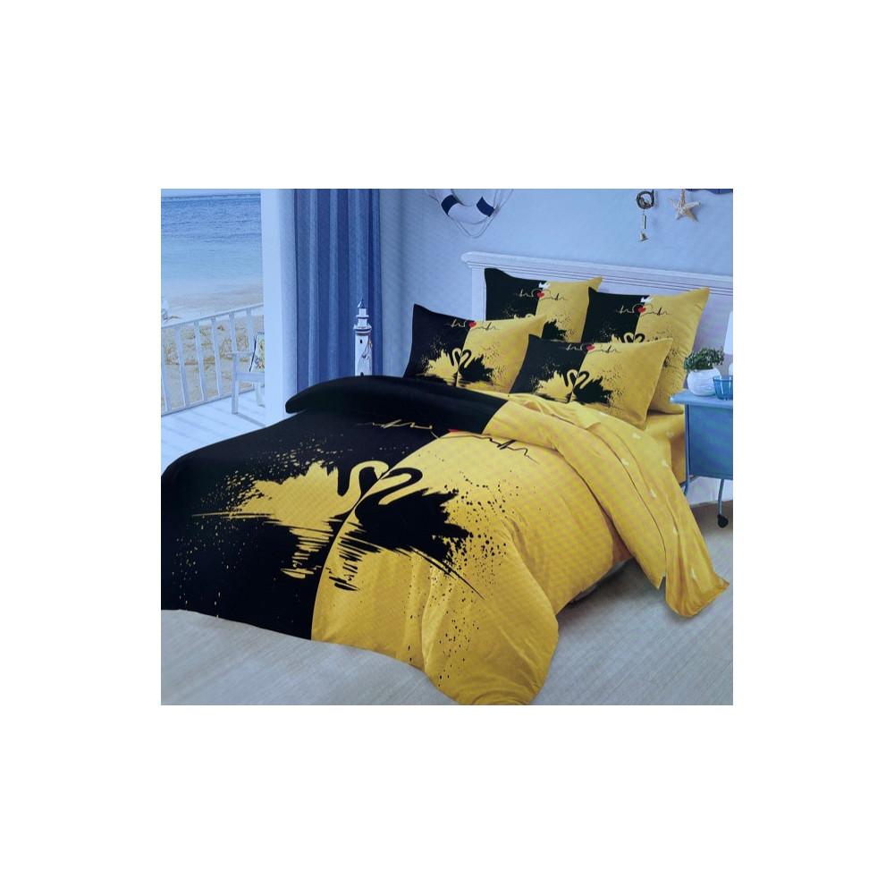 6-dílné Francouzské Povlečení - černé a žluté labutě