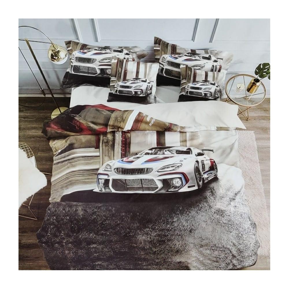 3D POVLEČENÍ - BÍLÉ AUTO