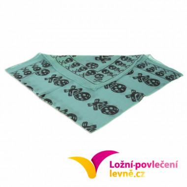 Šátek s lebkami - tyrkysová