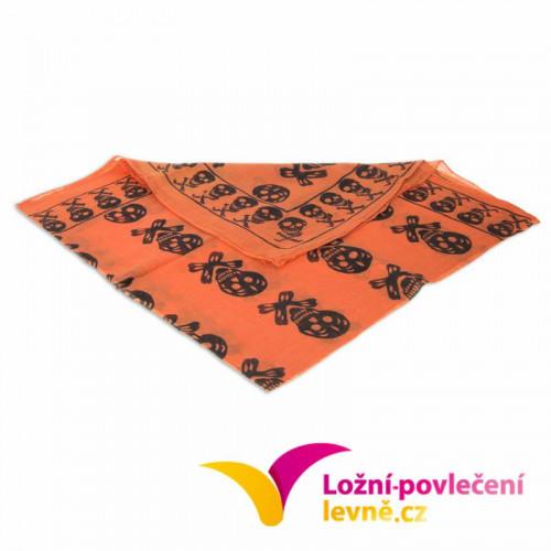 Šátek s lebkami - oranžový