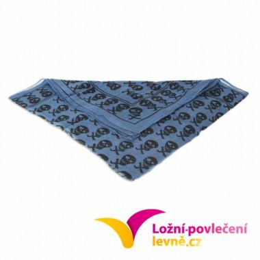 Šátek s menšími lebkami - modrý