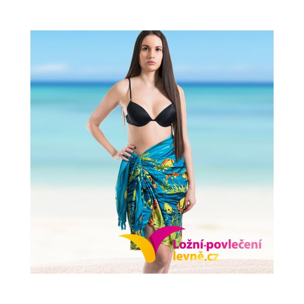 Plážový šátek - azurový